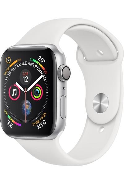 Apple Watch Seri 4 44mm GPS Gümüş Rengi Alüminyum Kasave Beyaz SporKordon - (MU6A2TU/A)