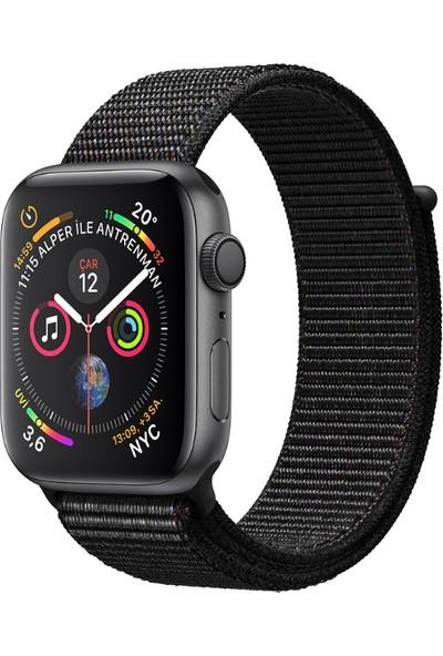 Apple Watch Seri 4 44mm GPS Uzay Grisi Alüminyum Kasave Siyah SporLoop - (MU6E2TU/A)