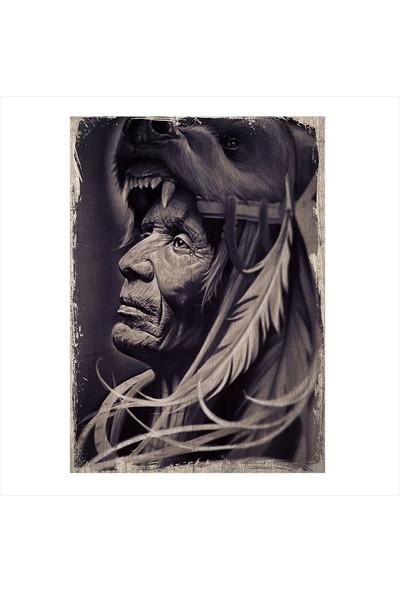 Tablomega Ahşap Tablo Siyah beyaz Kızılderili şefi