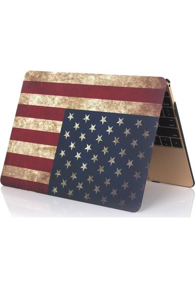 """Unico Apple Macbook Pro 13"""" ve 13.3"""" A1278 Sert Koruyucu Kapak - Amerikan Bayrağı"""