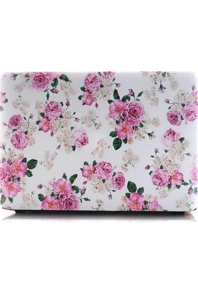 """Unico Apple Macbook Pro 13"""" ve 13.3"""" A1278 Sert Koruyucu Kapak - Beyaz Çiçekler"""