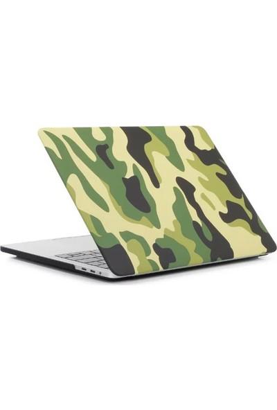 """Unico Apple Macbook Pro 13"""" ve 13.3"""" A1278 Sert Koruyucu Kapak - Kamuflaj Desenli Yeşil"""