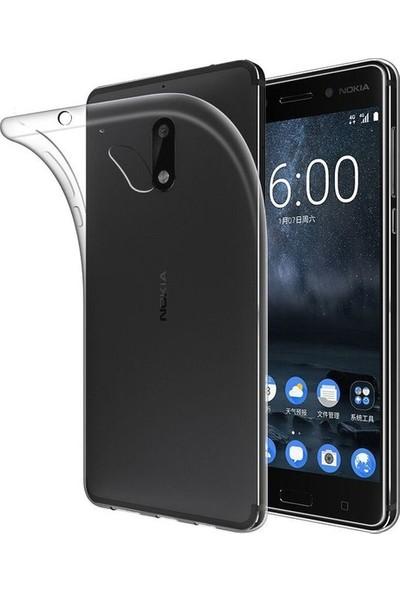 Ehr. Nokia 8 Ultra İnce Ultra Lüx Soft Şeffaf Silikon Kılıf + Ekran Koruyucu Cam