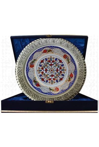 Armada Çini Prt 41 25 Cm Mavi Altın Yaldızlı Lale Karanfil Desenli Gümüş Çerçeveli Porselen Çini Tabak