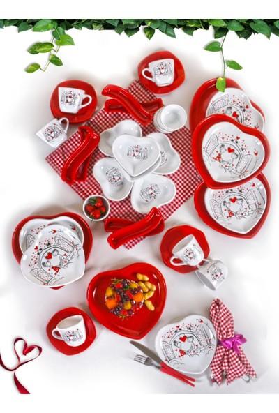 Keramika Keyfi Aşk Kahvaltı Takımı 42 Parça 6 Kişilik