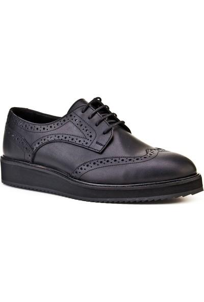 Cabani Bağcıklı Günlük Kadın Ayakkabı Siyah Napa Deri