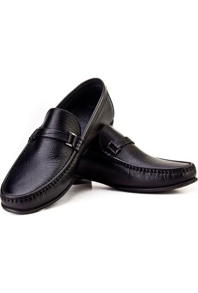 Cabani Light Taban Loafer Günlük Erkek Ayakkabı Siyah Naturel Floter Deri