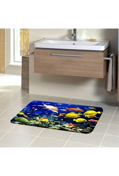 Else Akvaryum Balıklar 3D Modern Dekoratif Klozet Banyo Paspası