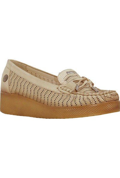 Mammamia D18Ya-3645 Dolgu Topuk Deri Kadın Ayakkabı Dore
