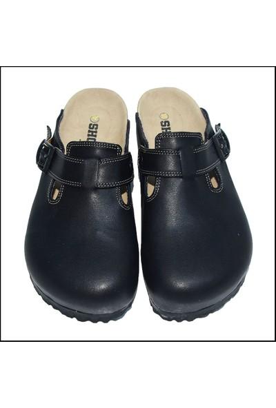 ShoeRokee Tasarım Ortopedik Siyah Mantar Sabo Terlik