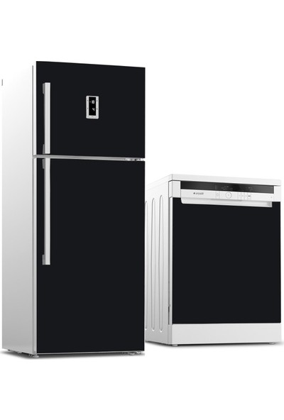 Tilki Dünyası Buzdolabı ve Bulaşık Makinesi Kaplama Sticker 502 Siyah