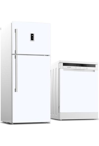 Tilki Dünyası Buzdolabı ve Bulaşık Makinesi Kaplama Sticker 501 Beyaz