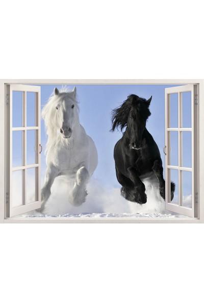 Tilki Dünyası Pencereden Karda Koşan Atlar, Duvar Sticker, 3 Boyutlu Beyaz Pencere Sticker