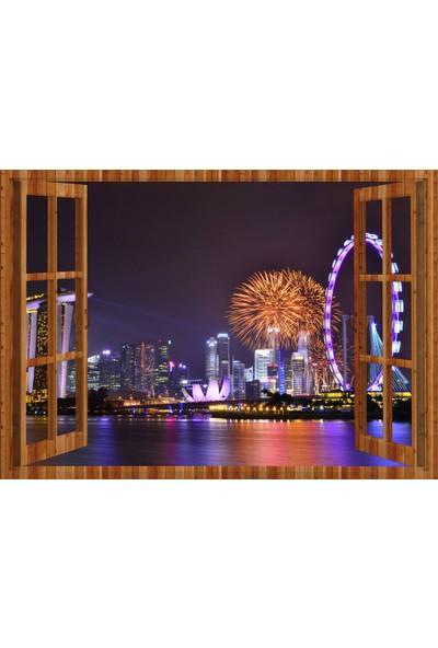 Tilki Dünyası Pencereden Gece ve Şehir Manzarası, Duvar Sticker, 3 Boyutlu Ahşap Pencere Sticker