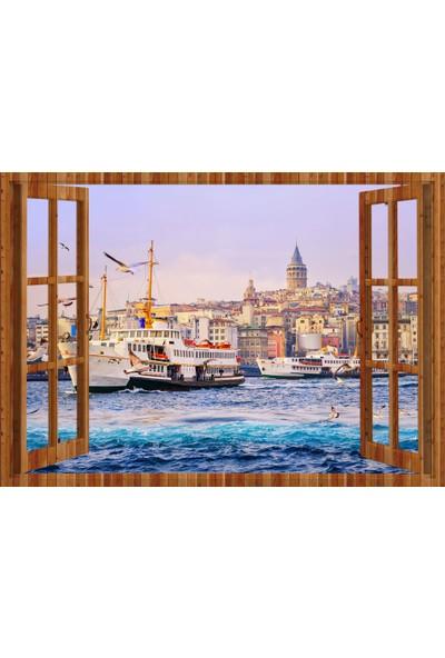 Tilki Dünyası Pencereden İstanbul, Martılar, Galata Kulesi ve Vapur, Duvar Sticker, 3 Boyutlu Ahşap Pencere Sticker