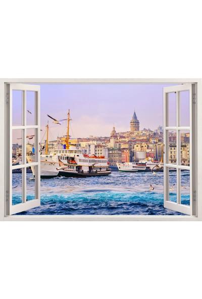 Tilki Dünyası Pencereden İstanbul, Martılar, Galata Kulesi ve Vapur, Duvar Sticker, 3 Boyutlu Beyaz Pencere Sticker