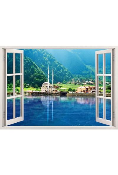 Tilki Dünyası Pencereden Trabzon Uzungöl Manzarası, Duvar Sticker, 3 Boyutlu Beyaz Pencere Sticker