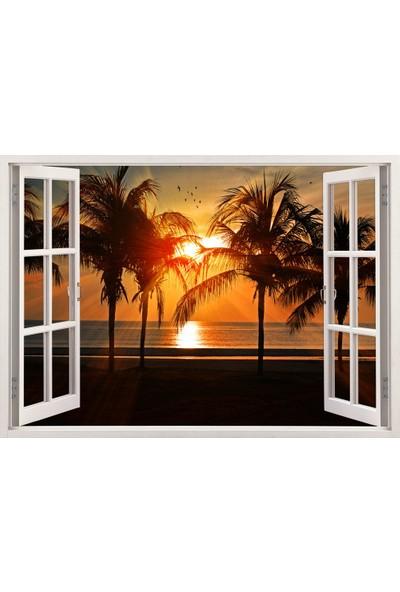 Tilki Dünyası Pencereden Tropik Ada ve Gün Batımı, Duvar Sticker, 3 Boyutlu Beyaz Pencere Sticker