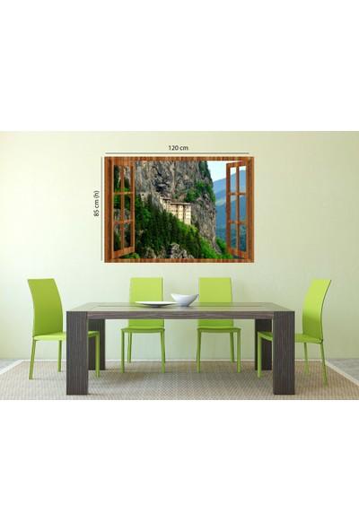 Tilki Dünyası Pencereden Trabzon Sümela Manastırı, Duvar Sticker, 3 Boyutlu Ahşap Pencere Sticker