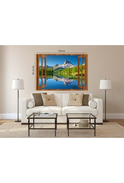 Tilki Dünyası Pencereden Göl ve Manzara, Duvar Sticker, 3 Boyutlu Ahşap Pencere Sticker