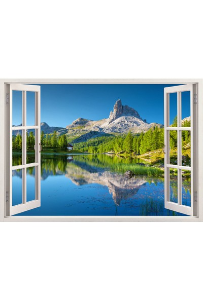Tilki Dünyası Pencereden Göl ve Manzara, Duvar Sticker, 3 Boyutlu Beyaz Pencere Sticker