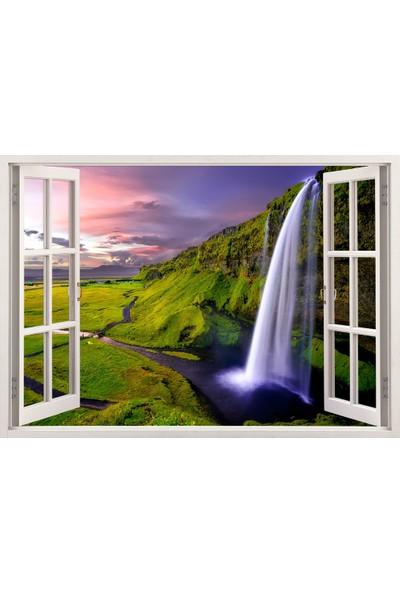 Tilki Dünyası Pencereden Doğa ve Şelale, Duvar Sticker, 3 Boyutlu Beyaz Pencere Sticker