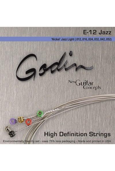 Godin Jazz Light E12 - Nickel Wound Elektro Gitar Takım Tel - 012-052