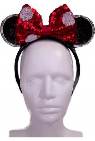 Pan Kostüm & Tasarım Minnie Mouse Payetli Kırmızı Taç