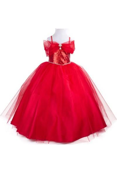Pan Kostüm & Tasarım Kırmızı Çocuk Abiye Prenses Elbise