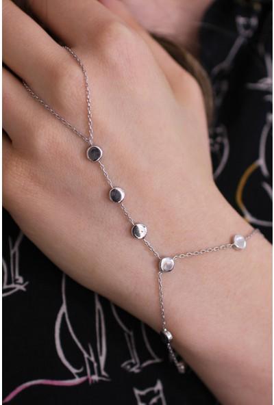 Nusret Takı 925 Ayar Gümüş Taşsız Yuvarlak Parçalı Şahmeran, Beyaz