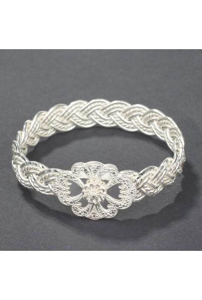 Nusret Takı 925 Ayar Gümüş Çiçek Kaşlı 3 Tel Burma Bilezik