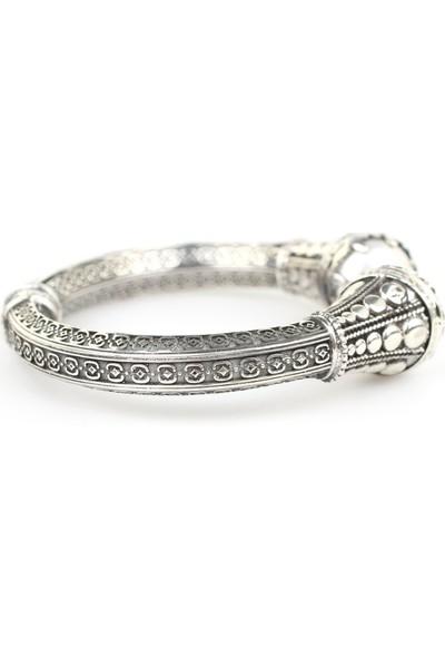 Nusret Takı 925 Ayar Gümüş İnci Taşlı Antik Tasarım Bileklik