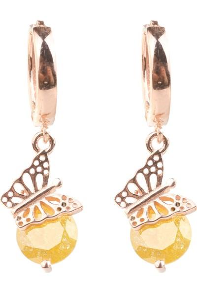 Nusret Takı 925 Ayar Gümüş Buzlu Limon Quartz Taşlı Kelebek Küpe