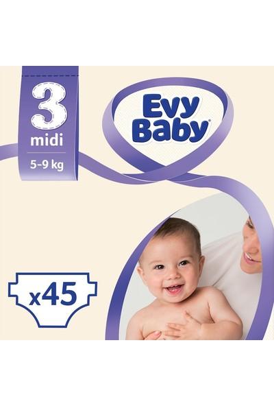 Evy Baby Bebek Bezi 3 Beden Midi Jumbo Paket 45 Adet