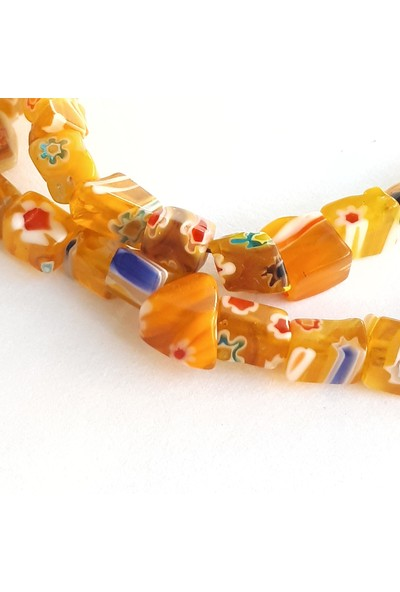 Chisenti El Yapımı Sarı Cam Boncuklu Bileklik
