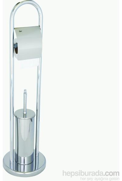 ARÇE Paslanmaz Krom Ayaklı Tuvalet Fırçalığı Ve Kağıtlığı