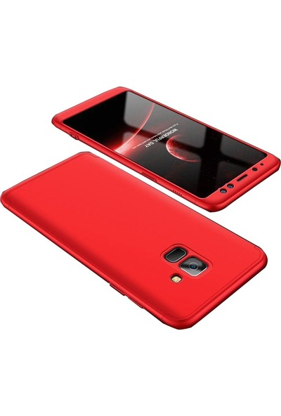 Gpack Samsung Galaxy J7 Duo Kılıf Ays 3 Parçalı + Nano Glass Kırmızı