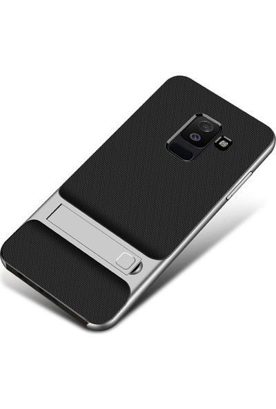 Gpack Samsung Galaxy J6 Kılıf Standlı TPU Arka Kapak Gümüş