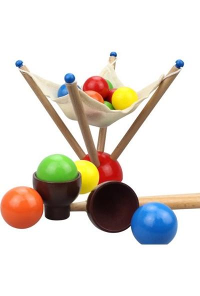 Piramigo Ahşap Top Aktarma Denge Oyunu Montessori Gelişim Oyunu