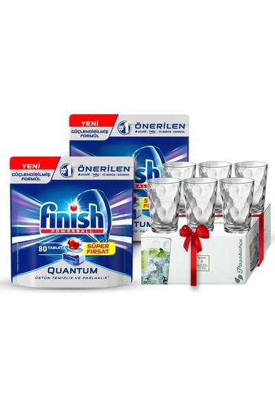 Finish Quantum 160 Tablet Bulaşık Makinası Deterjanı (80x2) + Paşabahçe 6'lı Su Bardağı