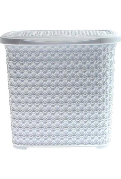 Arma House Örgü desenli Beyaz rengi plastik deterjan kutusu 4,5 LT