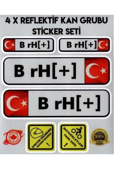 Çınar Extreme TR B rH + Reflektif Kan Grubu Seti Sticker