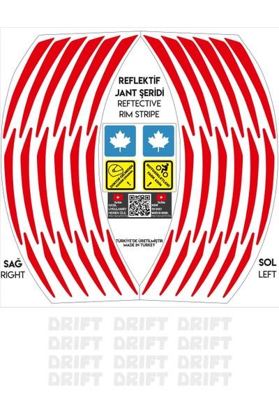 Çınar Extreme Beyaz Drift Yazılı 3 Parçalı Reflektif Kırmızı Mondial Jant Şeridi