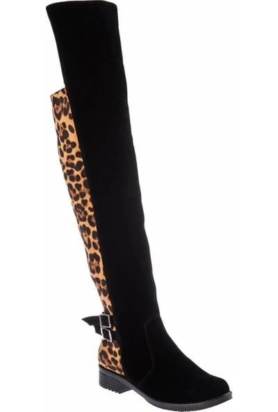 Fox Shoes Siyah Leopar Kadın Çizme E726560002