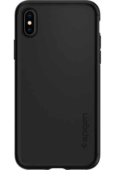 Spigen Apple iPhone XS / iPhone X Kılıf Thin Fit 360 Koruma Black (Cam Ekran Koruyuculu) - 063CS24926