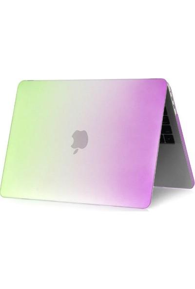 """Unico Apple Macbook Air 12"""" Retina A1534 Sert Koruyucu Kapak - Gökkuşağı Mor - Yeşil"""