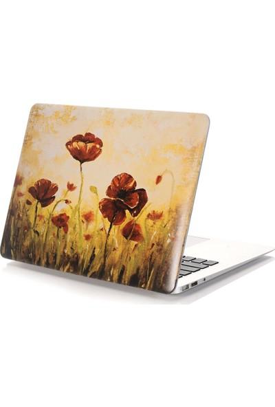 """Unico Apple Macbook Pro Retina 13"""" ve 13.3"""" A1502, A1425 Sert Koruyucu Kapak - Kırmızı Gelincik"""