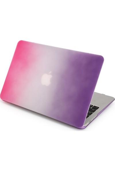"""Unico Apple Macbook Pro Retina 13"""" ve 13.3"""" A1502, A1425 Sert Koruyucu Kapak - Gökkuşağı Pembe - Mor"""