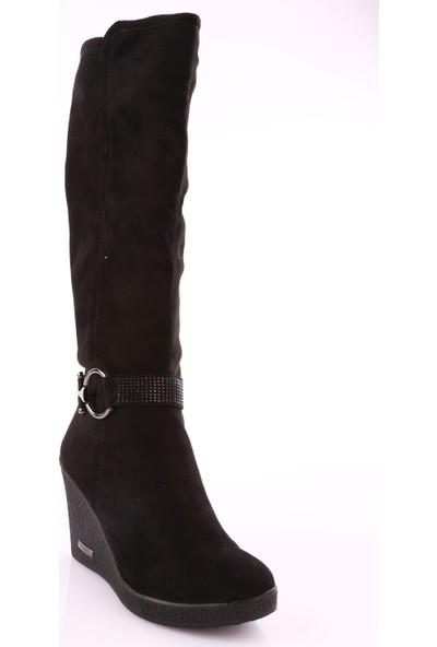 Guja 18K216-2 Kadın Wedge Dolgu Taban Knee Hight Çizme Siyah