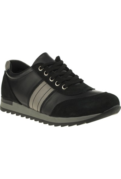 Toddler 6146 Bağcikli Fermuarlı Siyah Çocuk Ayakkabı